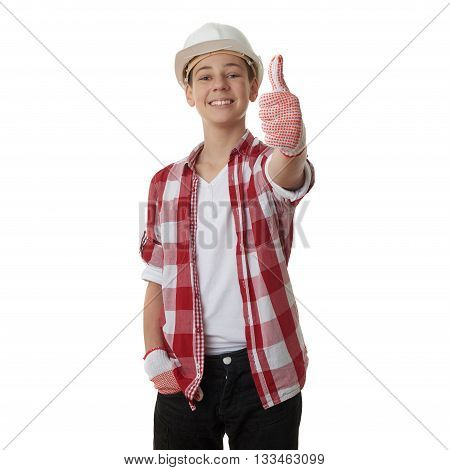 Cute teenager boy in red checkered shirt and building helmet showing thumb up sign over white isolated background, half body, constructing concept