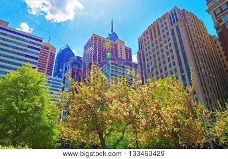 Penn Center And Skyline In Philadelphia Pa