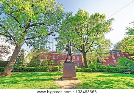 The Signer Statue In Signers Park In Philadelphia In Pa