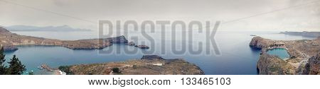 Lindos bay and St. Paul's Bay panorama, Rhodes island, Greece