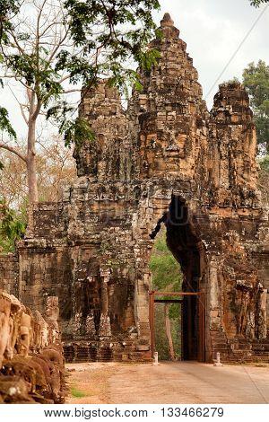 Entrance of Bayon Temple at daylight Angkor Wat Cambodia