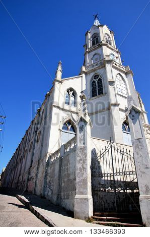 Low angle view of the church Parroquia las Carmelitas in Valparaiso