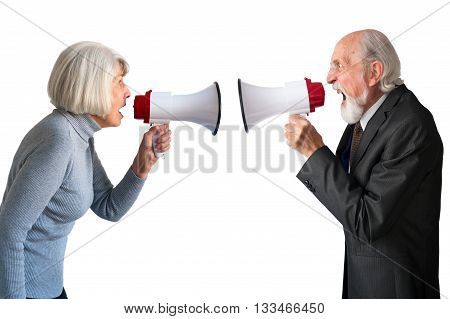 senior man and woman arguing isolated on white