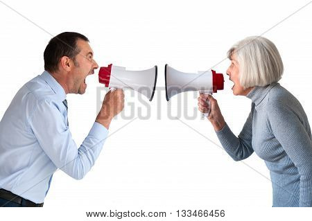 man and senior woman arguing isolated on white