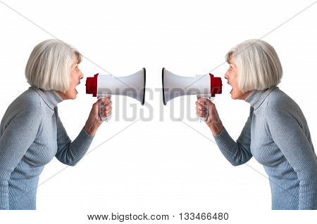 senior woman shouting at herself isolated on white