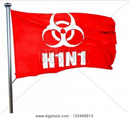 H1N1 virus concept background, 3D rendering, a red waving flag