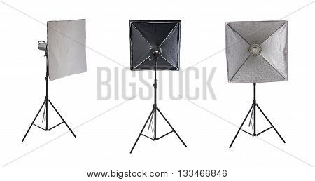 Set of Pulse studio flash with square softbox on a stand over isolated white background