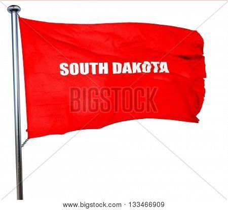 south dakota, 3D rendering, a red waving flag