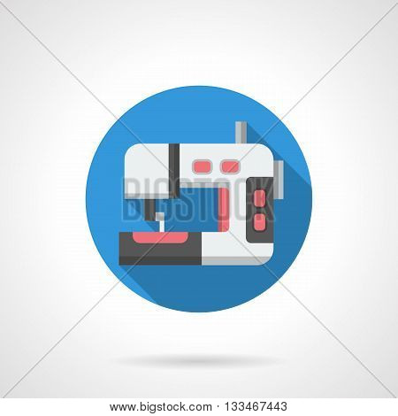 Dressmaking equipment symbol for store, blog, website. White sewing machine with red elements. Round flat color style vector icon.