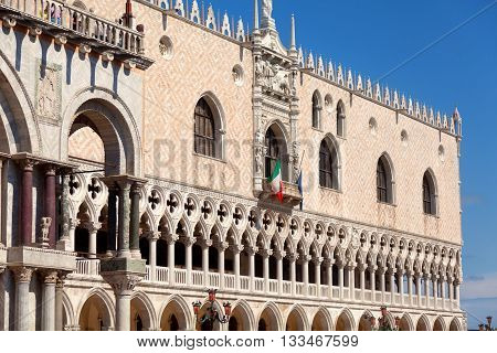 Close up of Dodges Palace in Venice Italy