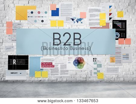 B2B Business to Business Transaction Connection Exchange Concept