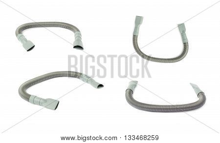 Set of Gray Hand held small vacuum hose cleaner isolated over the white background