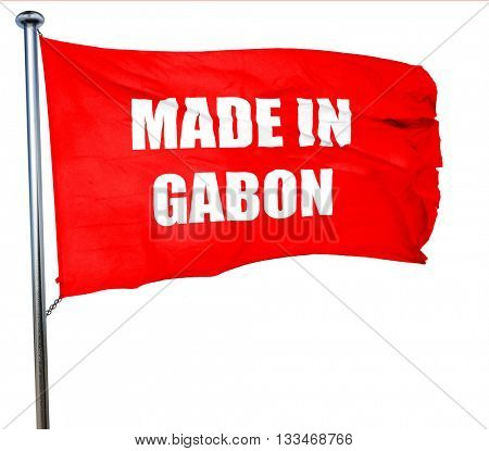 Made in gabon, 3D rendering, a red waving flag
