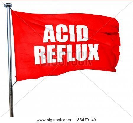 acid reflux, 3D rendering, a red waving flag