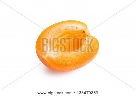 Apricot. Ripe fresh apricot isolated on white background. Apricot in a cut
