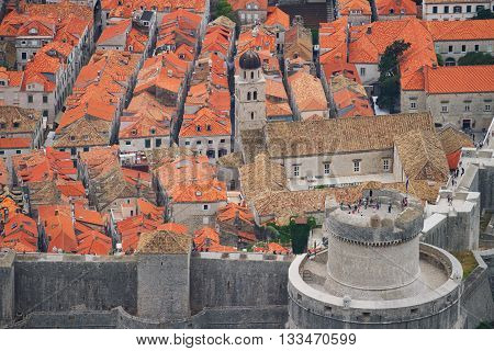 Fortress of Dubrovnik on the Adriatic Sea viewed from the hill. Horizontal shot