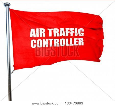 air traffic controller, 3D rendering, a red waving flag