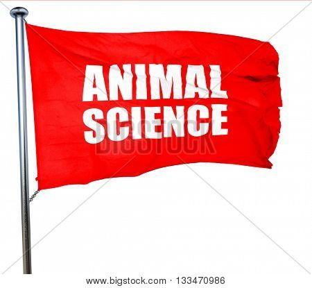animal science, 3D rendering, a red waving flag