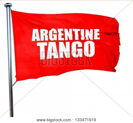 Argentine tango, 3D rendering, a red waving flag