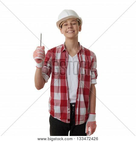 Cute teenager boy in red checkered shirt, building helmet and screwdriver over white isolated background, half body, constructing concept