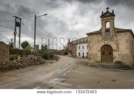 Vildé village and the ancient hermitage on a rainy day, Soria, Spain