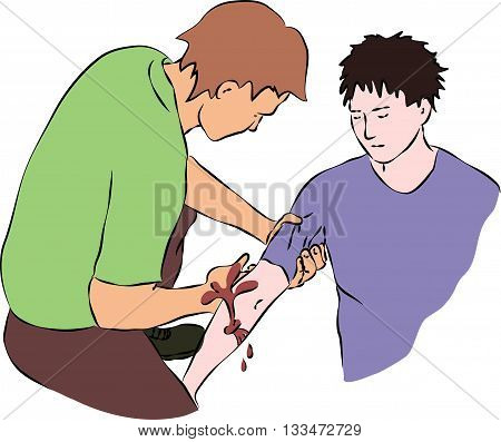 First aid - close blood flow from wound. Vector