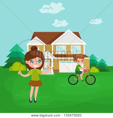 Little girl playing skipping rope outdoor, athletics kid vector illustraion
