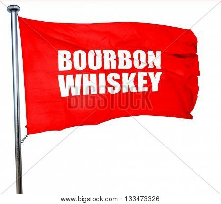 bourbon whiskey, 3D rendering, a red waving flag