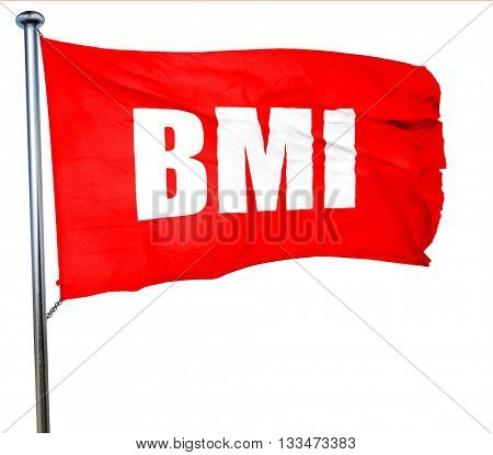 bmi, 3D rendering, a red waving flag