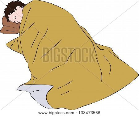 First aid - injured man under foil thermal blanket. Vector