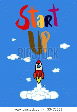 Start Up Concept. Hand Painted Brush Lettering,typographic Poste