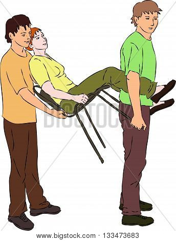 First aid - carry injured woman on chair. Vector