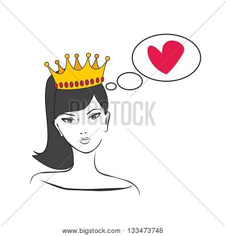 Queen or princess thinking about love vector illustration isolated on white