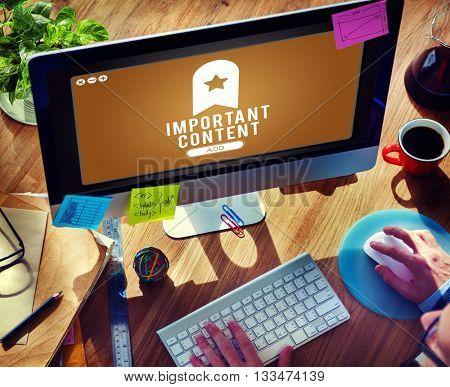 Important Content Bookmark Content Web Online Management Concept