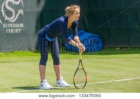 KHARKIV, UKRAINE - JUNE 07: Ukrainian tennis player Elina Svitolina gave open training session in Kharkiv on June 7, 2016.
