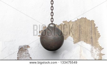 Metallic rusty wrecking ball on chain, with old wall. 3D rendering