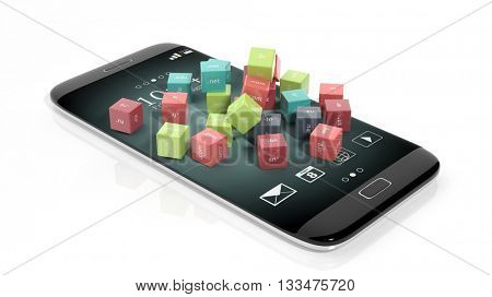 3D rendering of cubes with domain names, on smartphone's screen, isolated on white.