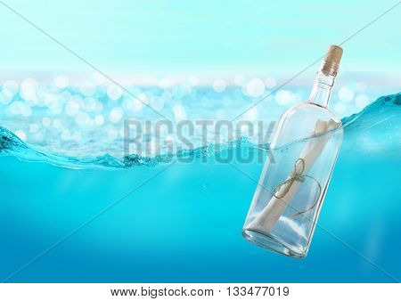 Bottle with a message in the water.