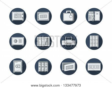 Equipment for keeping money in bank, office, home. Safe of valuable documents and jewelry. Safe box and lockers. Round flat color vector icons set. Web design elements for business, site, mobile app.