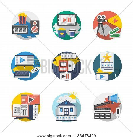Movie theatre and cinema industry symbols. Home movie, video archives. Media application. Round detailed flat color vector icons set. Web design elements for business, site, mobile app.