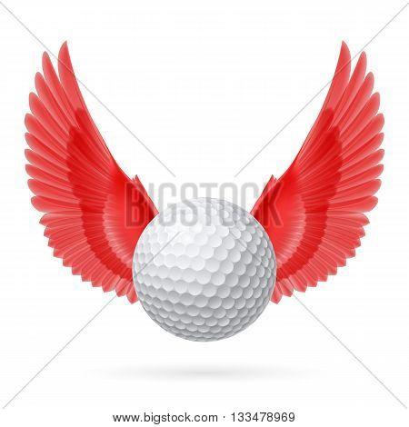 Realistic golf ball with red wings emblem