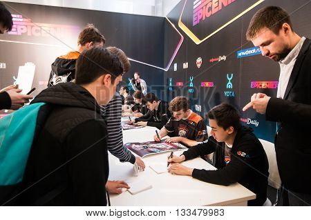 MOSCOW, RUSSIA - MAY 14 2016: EPICENTER MOSCOW Dota 2 cybersport event. Team Virtus Pro God interview.Autograph session of the team virtus pro