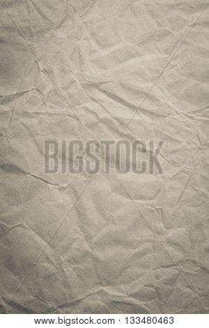 Brown crumpled creased paper bag for background or backdrop