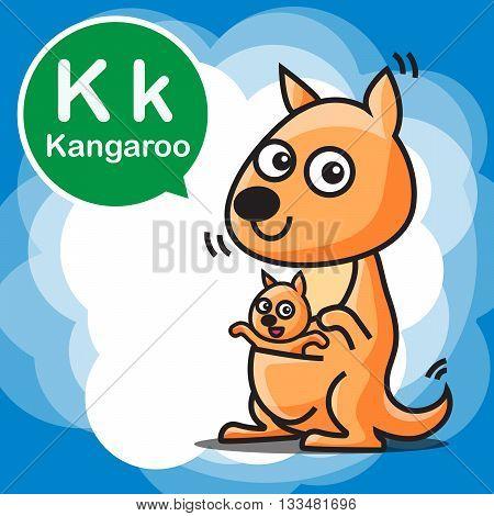 K Kangaroo cartoon and alphabet for children to learning vector illustration eps10