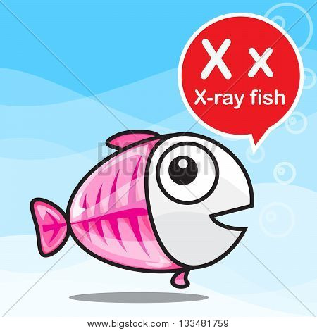 X X-ray fish animal cartoon and alphabet for children to learning vector illustration eps10