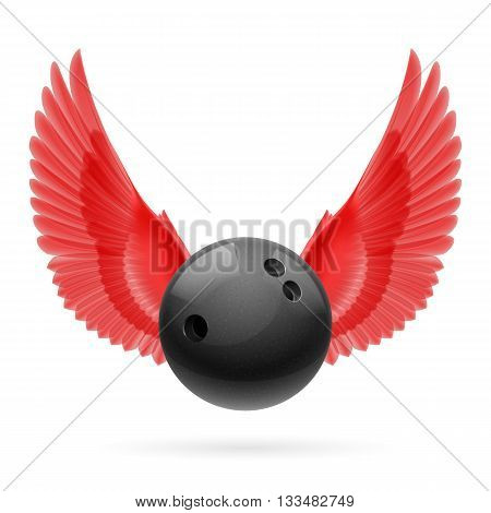 Black bowling ball with red wings emblem