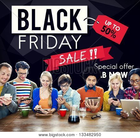 Black Friday Discount Half Price Promotion Concept