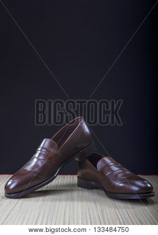 Mens Brown Penny Loafer Shoes Against Black Background. Vertical Image Composition