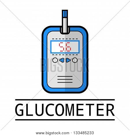 Glucometer and test strip. Flat icon. Medical equipment. Diabetes