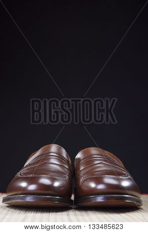 Mens Footwear Concepts. Pair of Brown Modern Calf Leather Brown Penny Loafers Shoes.Closeup Shot. Vertical Image Composition